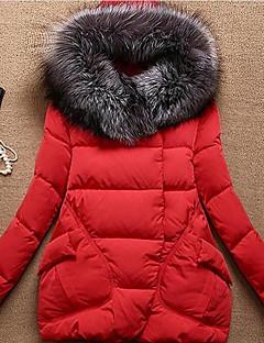 Damen Gefüttert Mantel,Standard Einfach Lässig/Alltäglich Solide-Baumwolle Polypropylen Langarm Mit Kapuze
