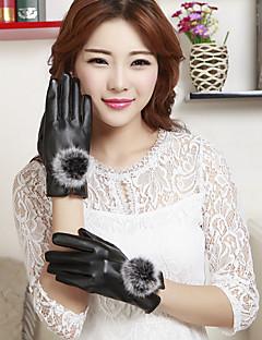 女性のPUウサギの毛皮の手首の長さの指先はウールがかわいい/パーティー/カジュアル冬のファッション暖かい手袋を混乱させる追加します