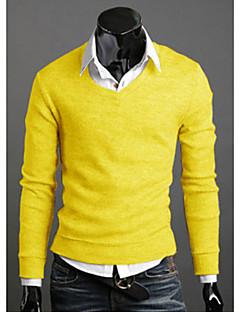tanie Męskie swetry i swetry rozpinane-Męskie Weekend Casual W serek Szczupła Pulower Solidne kolory Długi rękaw