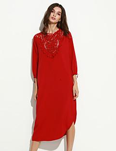Γυναικεία Καθημερινά Εκλεπτυσμένο Φαρδιά Φόρεμα,Patchwork Μακρυμάνικο Στρογγυλή Λαιμόκοψη Μακρύ Κόκκινο / Μαύρο Πολυεστέρας Φθινόπωρο