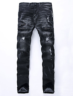 billige Herrers Moteklær-Herre Punk & Gotisk Gatemote Store størrelser Bomull Tynn Rett Jeans Bukser - dratt, Ensfarget