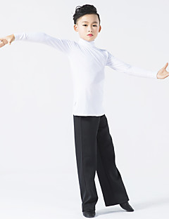 Latin Dance Outfits Children's Performance Milk Fiber Splicing 2 Pieces Long Sleeve Natural Top Pants