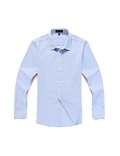 Bomull / Polyester Blå / Lilla Medium Langermet,Skjortekrage Skjorte Jacquard Høst Vintage / Enkel Fritid/hverdag / Formelle / Arbeid