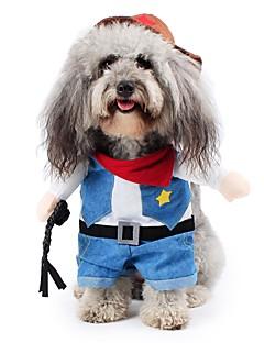 billiga Hundkläder-Katt Hund Dräkter / Kostymer Hundkläder Jeans Blå Cotton Terylen Kostym För husdjur Herr Dam Gulligt Cowboy Cosplay