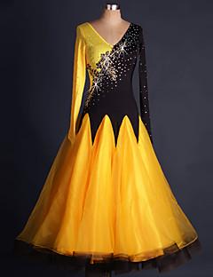 hesapli -Balo Dansı Elbiseler Kadın's Performans Splandeks Organze Payet Aplik Nakış Kristaller / Yapay Elmaslar Ayrık Renkler Çiçekli Uzun Kollu