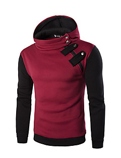 Men's Casual/Daily Simple Active Street chic Hoodie Color Block Micro-elastic Cotton Long Sleeve Fall Winter
