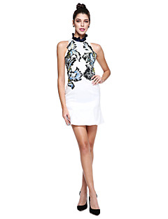 cheap Celebrity Dresses-Sheath / Column High Neck Short / Mini Mikado Cocktail Party / Prom Dress with Embroidery by TS Couture®