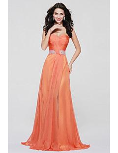 A-Line Sweetheart Floor Length Chiffon Bridesmaid Dress with Draping Sash / Ribbon Split Front by LAN TING BRIDE®