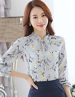 Women's Daily Street chic All Seasons ShirtPrint Stand Long Sleeve Black / Gray / Yellow Rayon / Polyester Thin