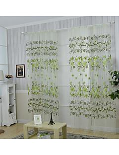 baratos Cortinas Transparentes-Barra no Interior Um Painel Tratamento janela Regional , Estampado Flor Sala de Estar Poliéster Material Cortinas cortinas Decoração para
