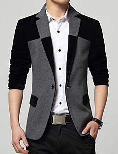 Erkek Pamuklu Akrilik Polyester Uzun Kol Gömlek Yaka Bahar Sonbahar Zıt Renkli Basit Vintage Günlük/Sade Çalışma Normal-Erkek Blazer
