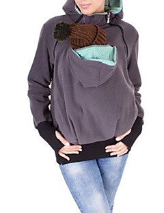 Feminino Camiseta Casual Simples Primavera Outono,Sólido Algodão Com Capuz Manga Longa Média