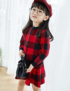 billige Tøjsæt til piger-Pige Tøjsæt Daglig I-byen-tøj Ruder, Rayon Forår Efterår Langærmet Afslappet Gade Sort Rød