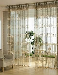 billige Gjennomsiktige gardiner-Propp Topp Et panel Window Treatment Europeisk Blomsternål i krystall Stue Poly/ Bomull Blanding Materiale Gardiner Skygge Hjem Dekor