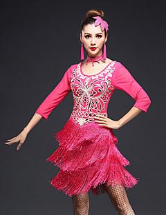 olcso -nekünk latin táncruhákat kell viselniük a női teljesítményű spandex tassel (ek) fél ujjú magas ruhadarabokat