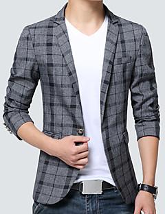 Erkek Pamuklu Akrilik Polyester Uzun Kol Gömlek Yaka Bahar Sonbahar Ekose Basit Vintage Günlük/Sade Çalışma Normal-Erkek Blazer