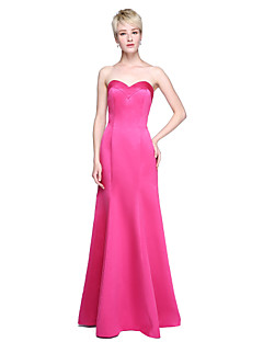 cheap Romance Blush-Mermaid / Trumpet Sweetheart Floor Length Satin Bridesmaid Dress with Pleats by LAN TING BRIDE®