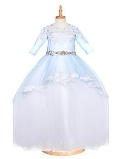 저렴한 플라워 걸 드레스-볼 드레스 바닥 길이 플라워 걸 드레스 - 튤 반 소매 쥬얼리 와 비즈 아플리케 크리스탈 디테일 으로 LAN TING BRIDE®