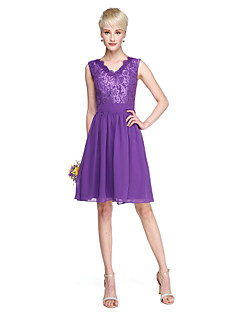 cheap Purple Passion-A-Line V Neck Knee Length Chiffon Lace Bridesmaid Dress with Sash / Ribbon by LAN TING BRIDE®