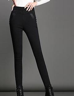 tanie Getry-Damskie Poliester Jednolity kolor Legging,Jendolity kolor Black