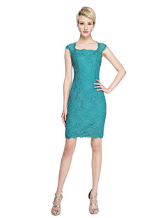 cheap Green Glam-Sheath / Column Square Neck Short / Mini Lace Bridesmaid Dress with Lace by LAN TING BRIDE®