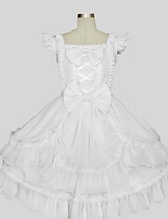 billiga Lolitamode-Prinsessa Söt Lolita Dam Outfits Cosplay Vit Ärmlös Knälång Kostymer