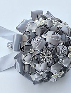 cheap -Wedding Flowers Round Roses Bouquets Wedding Party/ Evening Satin Silk Bead Rhinestone