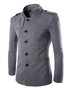 Herren Solide Einfach Lässig/Alltäglich Blazer,Ständer Herbst Winter Langarm Standard Baumwolle Polyester