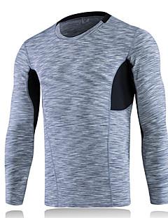 baratos Camisetas para Trilhas-Homens Camiseta de Trilha Ao ar livre Inverno Secagem Rápida Vestível Respirável Confortável Redutor de Suor Leve Roupas de Compressão