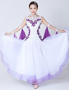 hesapli -Balo Dansı Elbiseler Kadın's Performans Splandeks Tül Kristaller / Yapay Elmaslar Ayrık Renkler Kolsuz Elbise