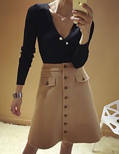 abordables -Femme Sexy Vintage Mignon Taille Haute Au dessus des genoux Jupes,Crochet Couleur Pleine Géométrique