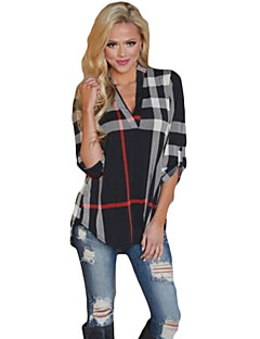 cheap -Women's Casual Cotton Loose T-shirt - Geometric V Neck