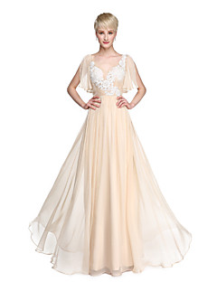 cheap Going Neutral-A-Line V-neck Floor Length Chiffon Bridesmaid Dress with Appliques by LAN TING BRIDE®