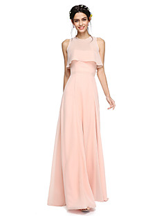 A-Line Strapless Floor Length Chiffon Bridesmaid Dress with Sash / Ribbon by LAN TING BRIDE®