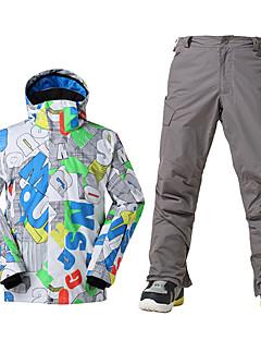 スキーウェア スキー/スノーボードジャケット 男性用 冬物ウェア ポリエステル 冬物ウェア 防水 保温 防風 フリースライナーつき 抗紫外線 フロントファスナー 抗放射線 耐久性 高通気性 スキー スノースポーツ ダウンヒル スノーボード 春 冬 秋