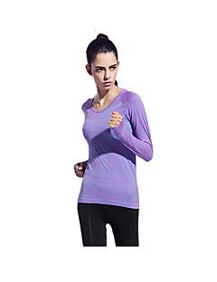 billige Løbetøj-Yokaland Dame Rund hals Løbe-T-shirt - Grøn, Blå, Lilla Sport Toppe Yoga, Fitness, Træningscenter Langærmet Sportstøj Åndbart, Hurtigtørrende, Reducerer gnavesår Elastisk / Svedreducerende