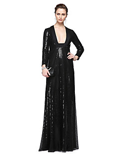 cheap Celebrity Dresses-Sheath / Column Square Neck Floor Length Sequined Formal Evening Dress with Sequins Pleats by TS Couture®