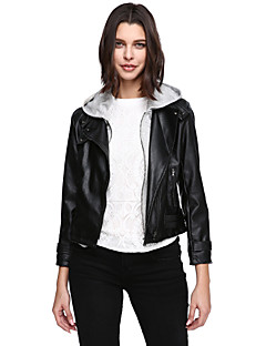 女性 カジュアル/普段着 プラスサイズ ソリッド レザージャケット,シンプル ブラック ポリウレタン 長袖