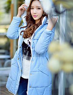 Feminino Longo Casaco Acolchoado,Fofo Moda de Rua Sofisticado Sólido Para Noite Casual Feriado-Pêlo Sintético Poliéster Poliéster Manga
