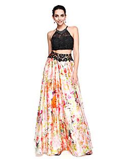 billige Høst 2013-A-linje Besmykket Gulvlang Blonder Strekk Chiffon Ball / Skoleball / Formell kveld Kjole med Perlearbeid av TS Couture®