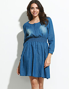 Χαμηλού Κόστους Denim Fashion-Γυναικεία Καθημερινά Γραμμή Α Φόρεμα,Μονόχρωμο Μακρυμάνικο Στρογγυλή Λαιμόκοψη Πάνω από το Γόνατο Μπλε Φθινόπωρο Κανονική Μέση Ανελαστικό