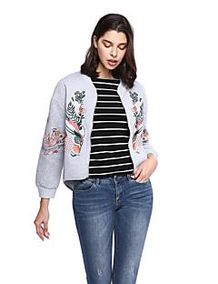 Damen Stickerei Anspruchsvoll Ausgehen Lässig/Alltäglich Jacke Langarm Schwarz Grau Baumwolle