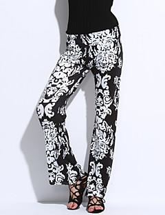 abordables -Femme Rétro Taille haute Micro-élastique Ample Jeans Pantalon,Polyester Eté Imprimé