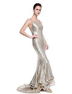 cheap Special Occasion Dresses-Mermaid / Trumpet Spaghetti Straps Sweep / Brush Train Sequined Formal Evening Dress with Sequin by TS Couture®