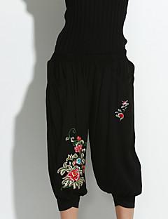abordables -Femme Décontracté Chinoiserie Elastique Ample Jeans Pantalon,Coton Printemps Automne