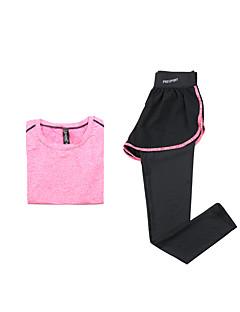 女性用 ランニングTシャツ(パンツ付き) 半袖 速乾性 高通気性 洋服セット のために ヨガ エクササイズ&フィットネス ランニング モーダル ポリエステル スリム パープル フクシャ S M L XL
