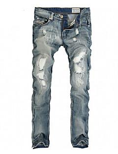 billige Herrebukser og -shorts-Herre Fritid Elastisk Jeans Bukser, Mellomhøyt liv Bomull Polyester Ensfarget Vår Høst Alle årstider