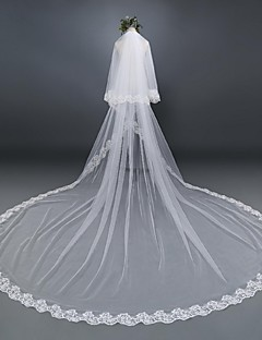 Two-tier Lace Applique Edge Wedding Veil Elbow Veils Cathedral Veils With Applique Lace Tulle