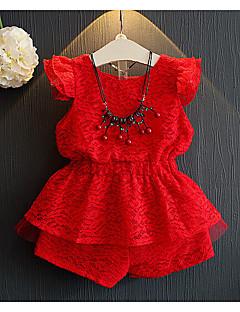 Mädchen Sets Lässig/Alltäglich einfarbig Baumwolle Kunstseide Sommer Ärmellos Kleidungs Set