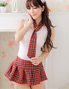 billige Moteundertøy-Dame Store størrelser Dress Uniformer og kinesiske kjoler Ultrasexy Nattøy - Ruter